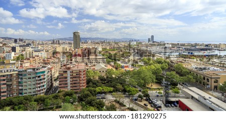 panorama of the city of Barcelona Spain - stock photo