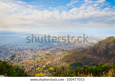 "Panorama of the City of Cape Town, South Africa on top of the ""Table Mountain"" in a sunny autumn day."