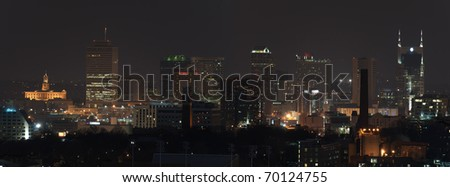 Panorama of the city of Nashville at night just after sunset - stock photo