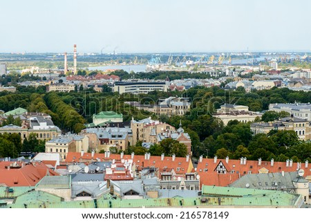 Panorama of the city of Riga, Latvia. View from the Saint Peter's church in Riga, Latvia