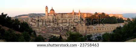 panorama of the city of Urbino - stock photo