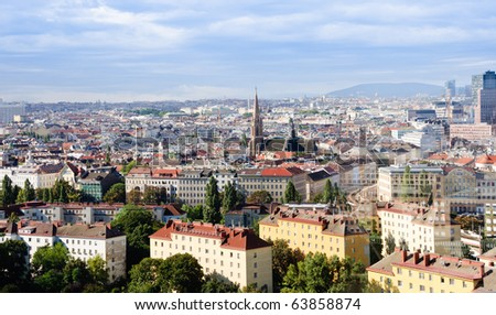 Panorama of the city of Vienna, Austria. Shot from Wiener Riesenrad - stock photo