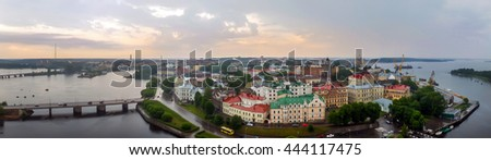 Panorama of the city of Vyborg from the top. Capital city of Russia, founded in the Middle ages the Swedes. In 1293 during the Crusades in the land of Karelians, swedes built a castle Vyborg. - stock photo