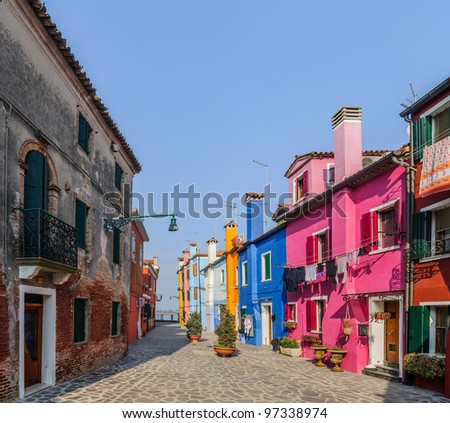 Panorama of the colorful houses Burano. Italy - stock photo