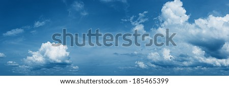 Panorama of the daytime sky with beautiful clouds - stock photo