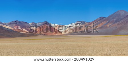 Panorama of the Desert plateau (an ancient collapsed volcano) -  Altiplano, Bolivia, South America - stock photo