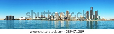 Panorama of the Detroit, Michigan Skyline - stock photo