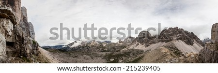 Panorama of the dolomites mountains in Italy - stock photo