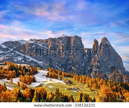 panorama of the Dolomites with snow-capped peaks and conifers - stock photo