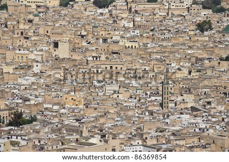 Panorama of the Fes (Fez) - one of the ancient royal cities in Morocco. Detail with mosques.