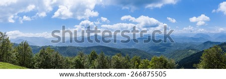 Panorama of the foothills of the Pyrenees in Biert - stock photo