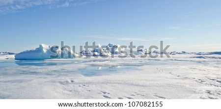 Panorama of the Geographic North Pole - stock photo
