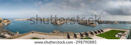 Panorama of the Gulf of La Valletta to Vittoriosa in Malta - stock photo