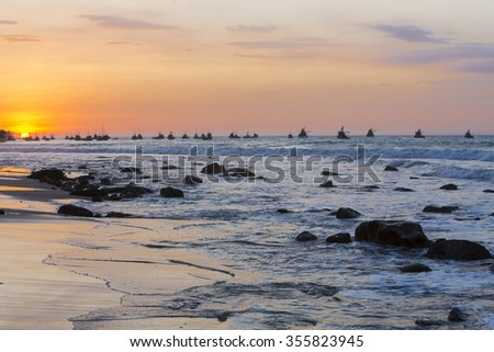 Panorama of the harbor of Manora during a wonderful orange sunset. Peru 2015 - stock photo