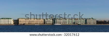 Panorama of The Hermitage Museum in Saint Petersburg - stock photo