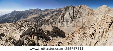 panorama of the high Sierra from the summit of Gamblers Special including Lone Pine Peak Mount Muir Mount Whitney  Russel and Carillon - stock photo