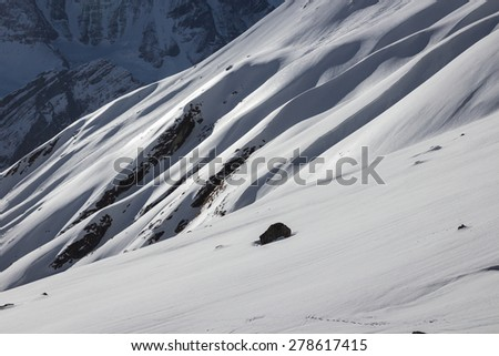 Panorama of the Himalayas on the tracking to the  Annapurna base camp - stock photo