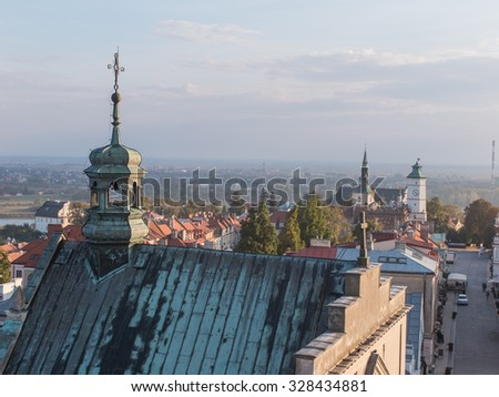 Panorama of the historic old town, which is a major tourist attraction, Poland - stock photo