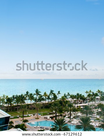 Panorama of the hotel near sea side - stock photo