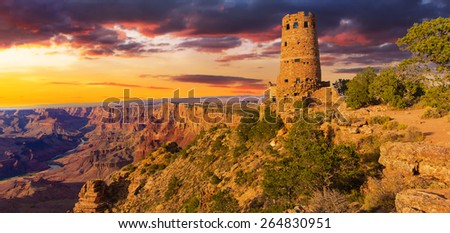 Panorama of the Indian Watchtower at Desert View Point - stock photo