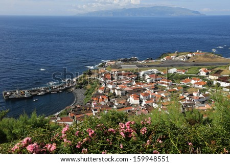 Panorama of the island of Corvo in the Atlantic Ocean Azores Portugal - stock photo