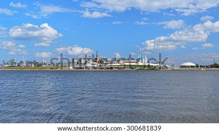 Panorama of the Kazan Kremlin from the Kazanka River, Republic of Tatarstan, Russia - stock photo