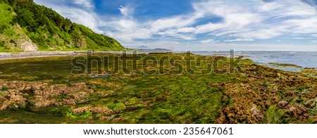 Panorama of the kow tide at the Pacific ocean shore, Kunashir island, Russia - stock photo