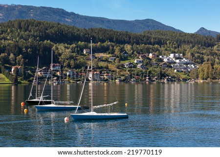 Panorama of the lake of Millstatt with sailing boats. Carinthia, Austria - stock photo