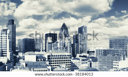 Panorama of the London financial district - stock photo