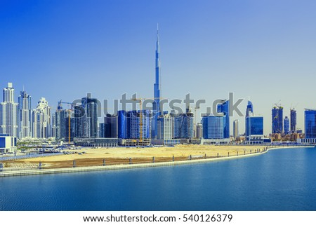 Panorama of the luxury center of Dubai under massive construction,Dubai,United Arab Emirates