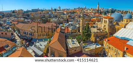 Panorama of the main landmarks of the Christian Quarter - the Church of the Holy Sepulchre and the scenic Muristan Square from the bell tower of the Lutheran Kirche of the Redeemer, Israel. - stock photo