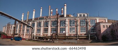 Panorama of the main production building of the Samara state district power station. - stock photo