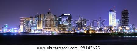 Panorama of the Mediterranean Coastline in Tel Aviv, Israel - stock photo