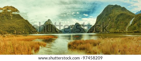 Panorama of the Milford Sound - stock photo