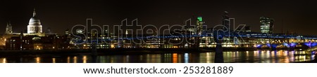 Panorama of the millenium bridge at night, London, England - stock photo