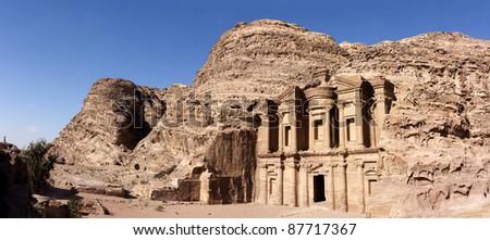 Panorama of the Monastary at Petra - stock photo