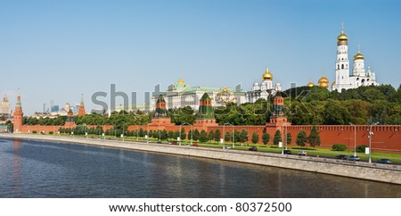 panorama of the Moscow Kremlin and the waterfront - stock photo
