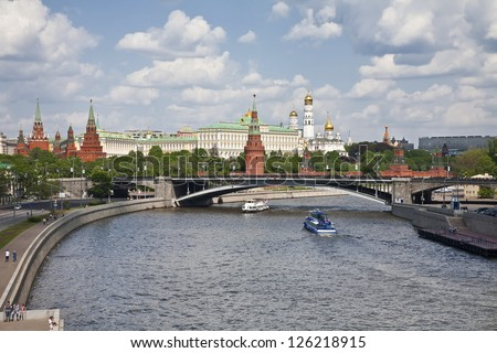 Panorama of the Moscow Kremlin. Russia - stock photo