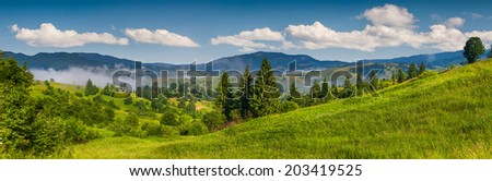 Panorama of the mountain village in a foggy summer morning - stock photo