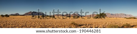 Panorama of the Namib desert. Sossusvlei, Namibia - stock photo