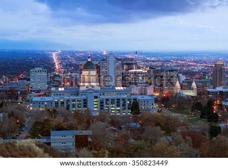 Panorama of the night in Salt Lake City in the winter before Christmas, Utah, USA - stock photo