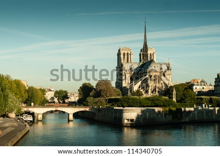 Panorama of the Notre Dame cathedral in the morning - stock photo
