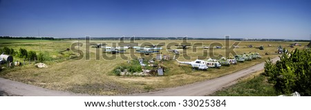 panorama of the  Old airfield in Ukraine - stock photo