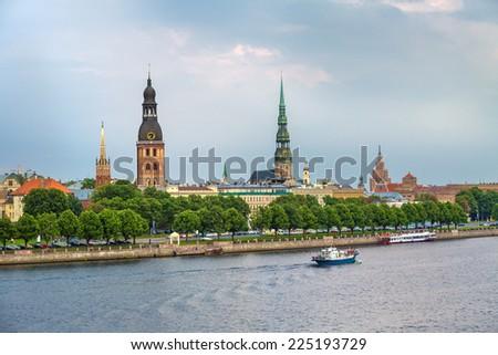 Panorama of the old center of Riga, Latvia - stock photo