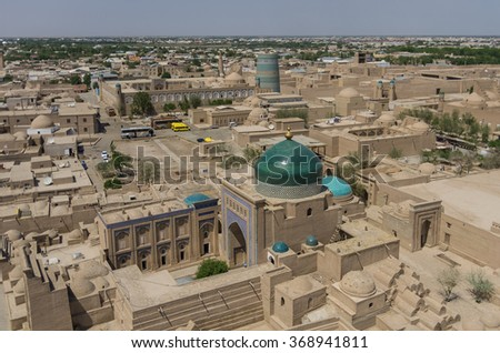 Panorama of the old city from the height of the minaret, Khiva, Uzbekistan