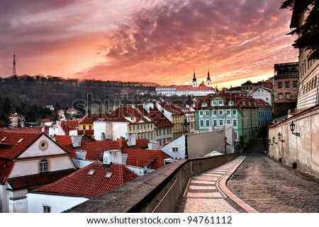Panorama of the Old Town in Prague in sunset (Czech Republic) - stock photo