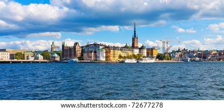 Panorama of the Old Town in Stockholm, Sweden - stock photo