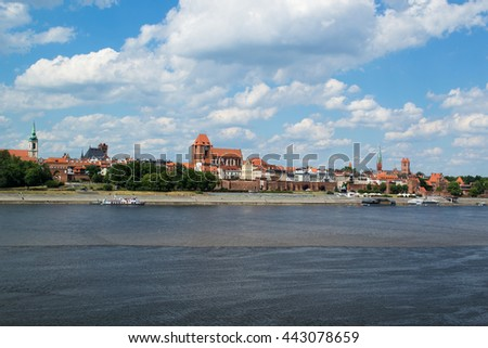 Panorama of the Old Town in Torun on the Vistula River.
