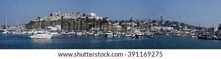 Panorama of the Port in Torquay, South Devon, Cornwall, England, Europe - stock photo