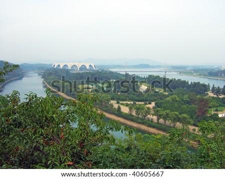 panorama of the Pyongyang capital of the North Korea - stock photo